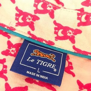 Le Tigre Tops - Le Tigre boston terrier dog shirt button down pink